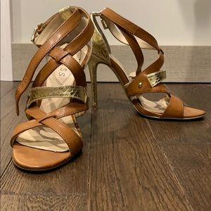 Gold and tan heeled sandals